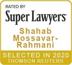 Rated by Super Lawyers 2020 Shahab Mossavar-Rahmani