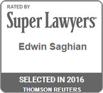 Rated by Super Lawyers 2016 Edwin Saghian
