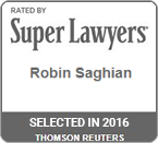 Rated by Super Lawyers 2016 Robin Saghian