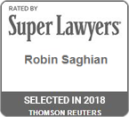 Rated by Super Lawyers 2018 Robin Saghian