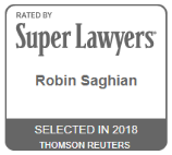 Super Lawyers: Robin Saghian, selected in 2018