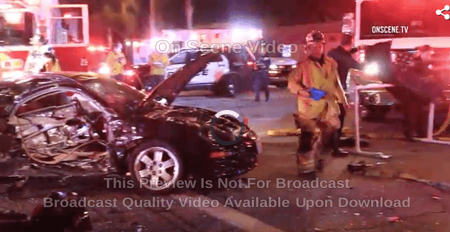 Fatal car accident scene in Santa Fe springs